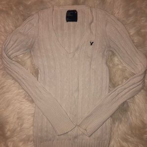 American Eagle cable knit fitted sweater